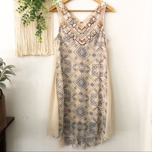FREE PEOPLE Sleeveless Beaded Embroidered Dress